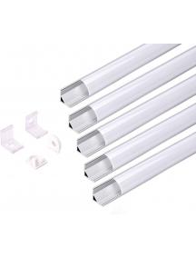 opaco Profilo LED Alluminio Barra Angolare 1Mt Strip 8-10MM Mod.1616 Rotondo