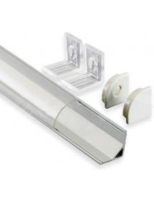 Profilo LED Alluminio Barra Angolare 1Mt Strip 8-10MM Mod.1616 Rotondo