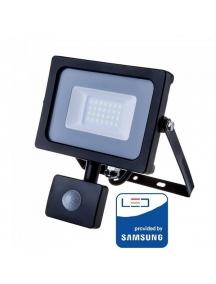 v tac faro led vt 20 s superslim nero chip samsung 20w ip65 lucefredda  6400k con sensore di movimento e creuscolare sku 453