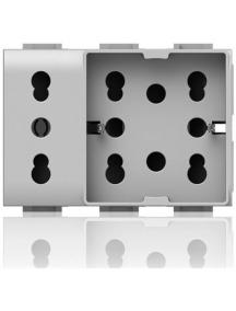 4 box side unika xl per bticino matix  presa bipasso e schuko  bianca  4bx4b.am.h21.xl