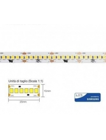 strip led con 1200 smd2835 chip samsung ip20 24v 26w a metro 130w 4000k luce naturale  3032