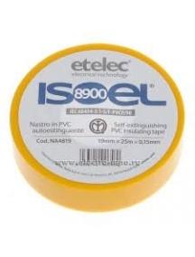etelec nastro adesivo in pvc  autoestinguente 19mm x 25mm s 0,15mm giallo ETLNA4819