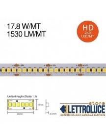 striscia led h.d. 96w luce fredda 6000°k 8400 lumens 24V IP20 pcb 10mm bobina da 1200 smd 3528 1017
