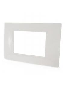 placca mostrina 3 posti moduli bianca in tecnopolimero plastica compatibile con vimar plana