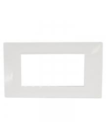 placca bianca mostrina 4 posti moduli in tecnopolimero plastica compatibile con vimar plana