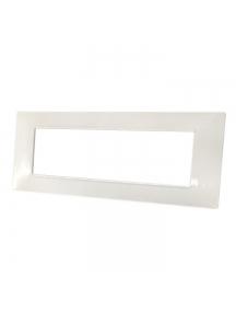 placca mostrina bianca 7 posti moduli in tecnopolimero compatibile con vimar plana bianca