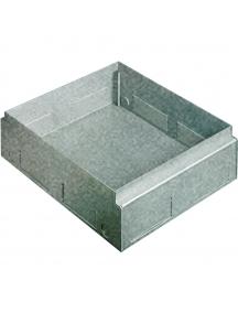 scatola da incasso in lamiera zincata per installazione di torrette a scomparsa 16/20 moduli in pavimenti in cemento