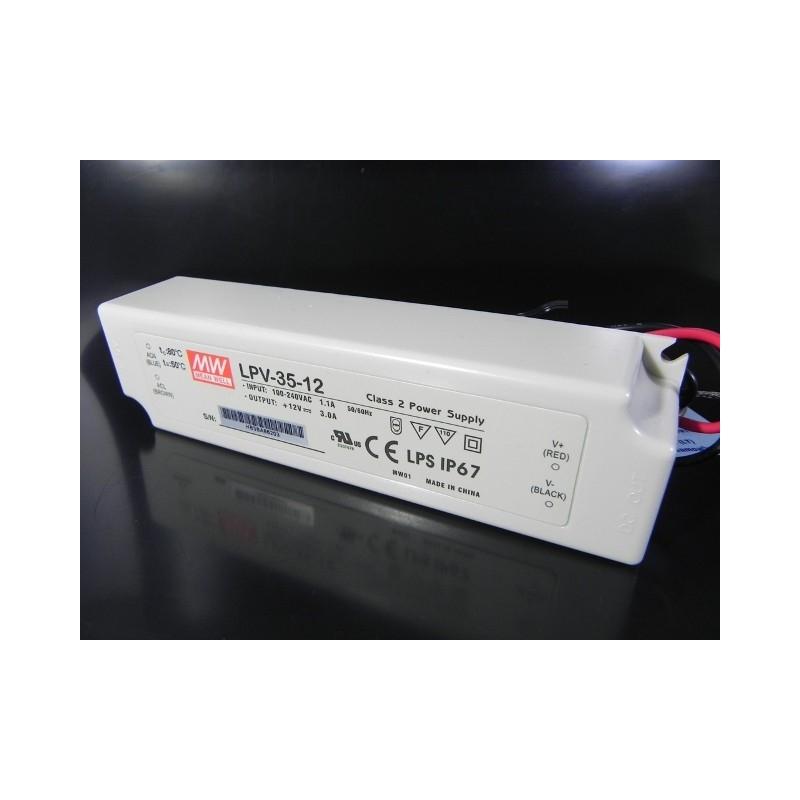 Alimentatore led mean well lpv 35 12 35w 12v impermeabile for Alimentatori per led