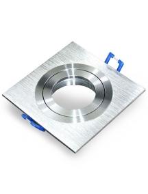 Portafaretto da incasso orientabile quadrato, alluminio satinato