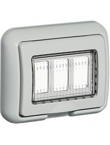 bticino idrobox matix coperchio ip55 3 posti moduli grigia placca stagna portafrutto bticino 25603
