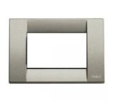 vimar idea   placca classica 3 moduli titanio metallizzato mostrina vimar 16733.24