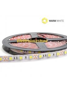 strisce led bobina 5 metri 72w 5400 lumen  12v 300smd5050 strip luce calda  pcb raw ip20 0571