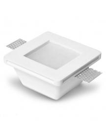 faretto incasso quadrato con vetro in gesso ceramico  fisso scomparsa verniciabile per gu10 e mr16   per controsoffitto csf080