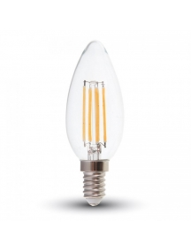 lampada lampadina oliva e14 4w retro' trasparente vetro luce naturale v-tac 1986