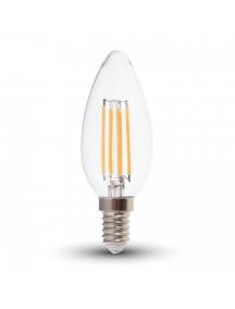 lampadina oliva filo led filamento E14 4W 2700K luce calda vintage vetro v-tac 1986