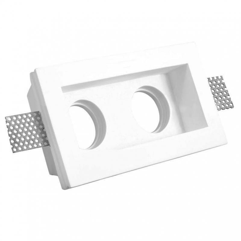 Faretto incasso gesso doppio ceramica rettangolo per for Lampade led incasso