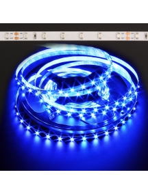 strip led striscia 12v 24w led bobina 5 metri  300 led 3528 colore blu retro adesivo impermeabile 2100 lumen IP65 0133