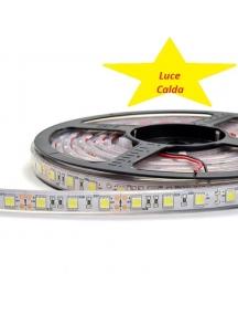 striscia strip led bobina 5 metri  300smd5050 bianco caldo 3000k tubo siliconico ip67 0572