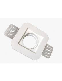 faretto incasso quadrato  in gesso ceramico fisso a scomparsa verniciabile per gu10 e mr16 contro soffitto csf040