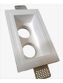 faretto rettangolare doppia lampada in gesso ceramico verniciabile a scomparsa cfs096