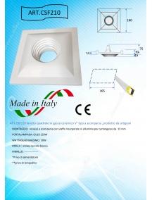 faretto quadrato in gesso ceramico verniciabile prospettico csf210