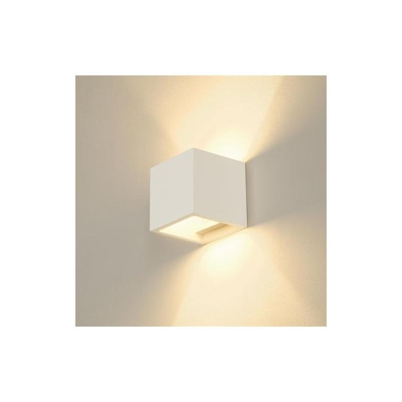 Lampada applique moderno da parete in gesso verniciabile up down cubo csf110l elettroluce store - Applique in gesso da parete ...