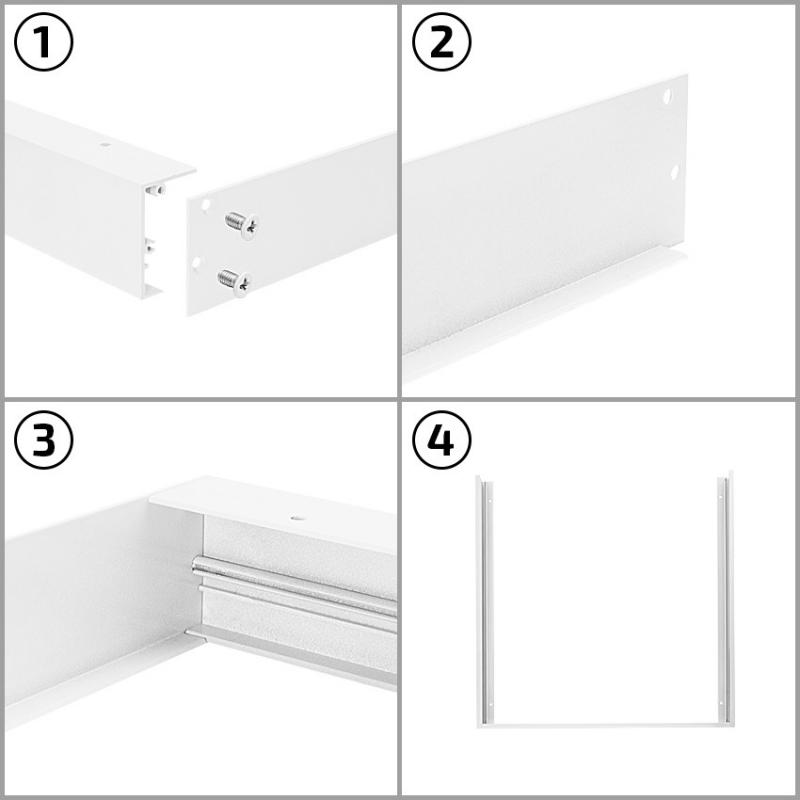 supporto top in metallo per montaggio esterno soffitto plafone per pannelli led 120x60. Black Bedroom Furniture Sets. Home Design Ideas