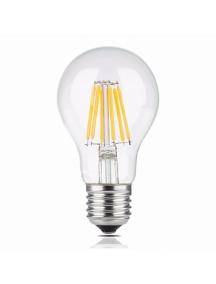 lampada lampadina led retro' trasparente E27 G60 8W filamento luce calda vintage
