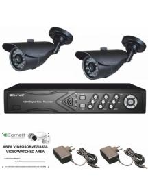 comelit kit videosorveglianza  ahd 1dvr  ahdvr040b 2 telecamere ahcam608b 2  43082  comelit ahkit040c